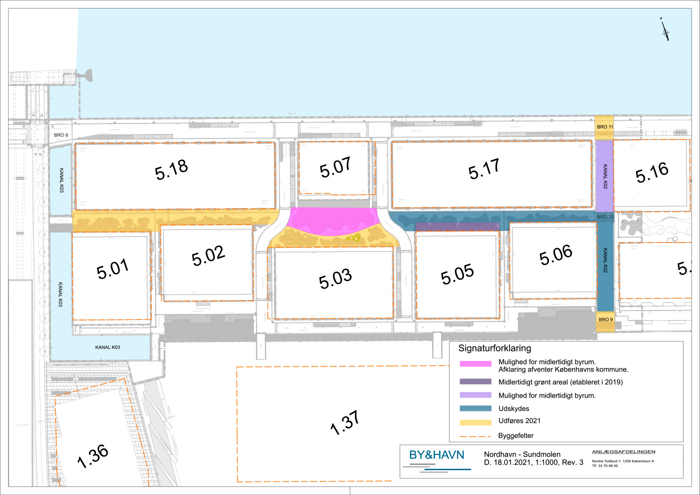 Tidsplan for arbejdet med byrum, Sundmolen