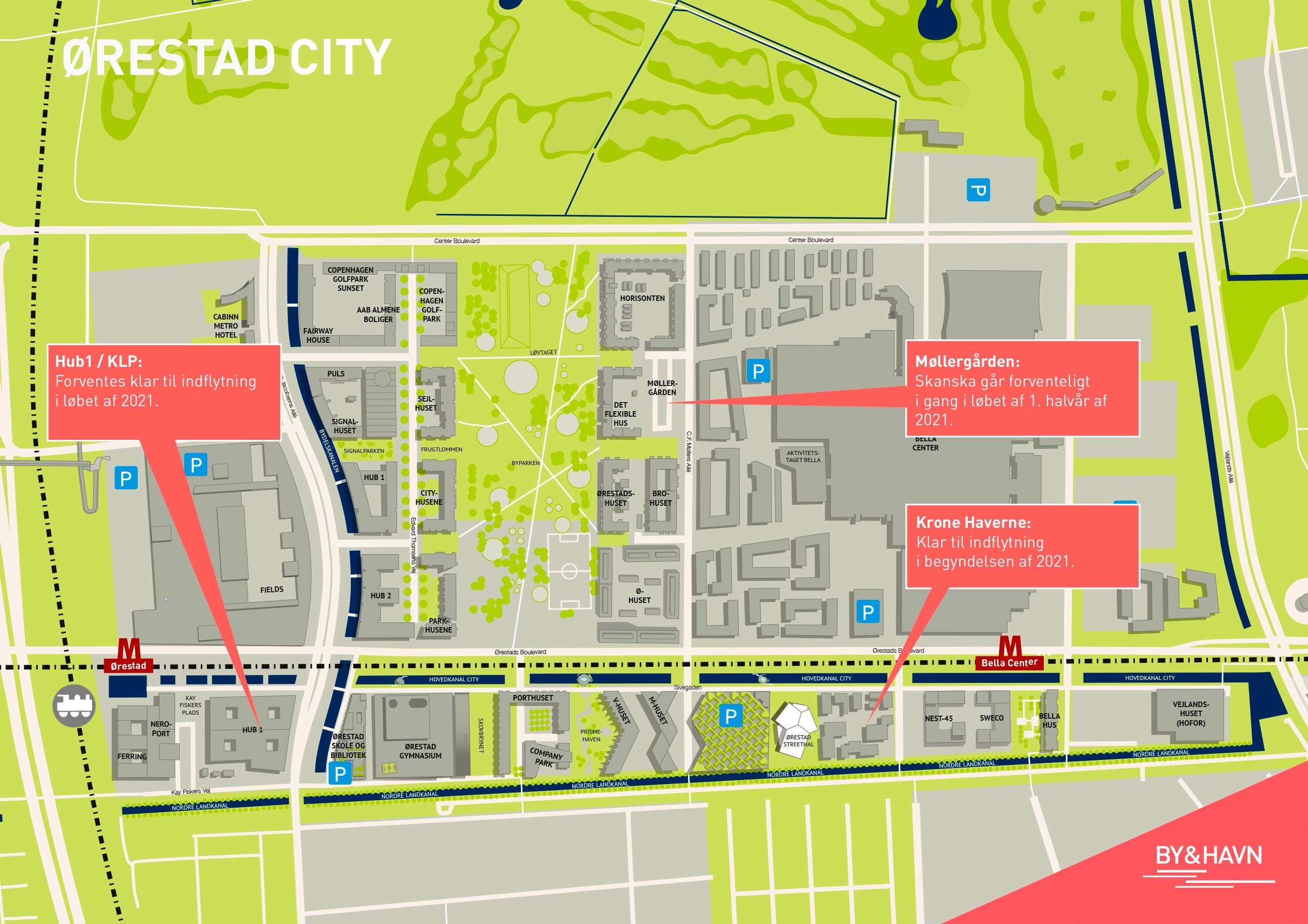 Kort over Ørestad City viser nuværende og fremtidig byggeaktivitet