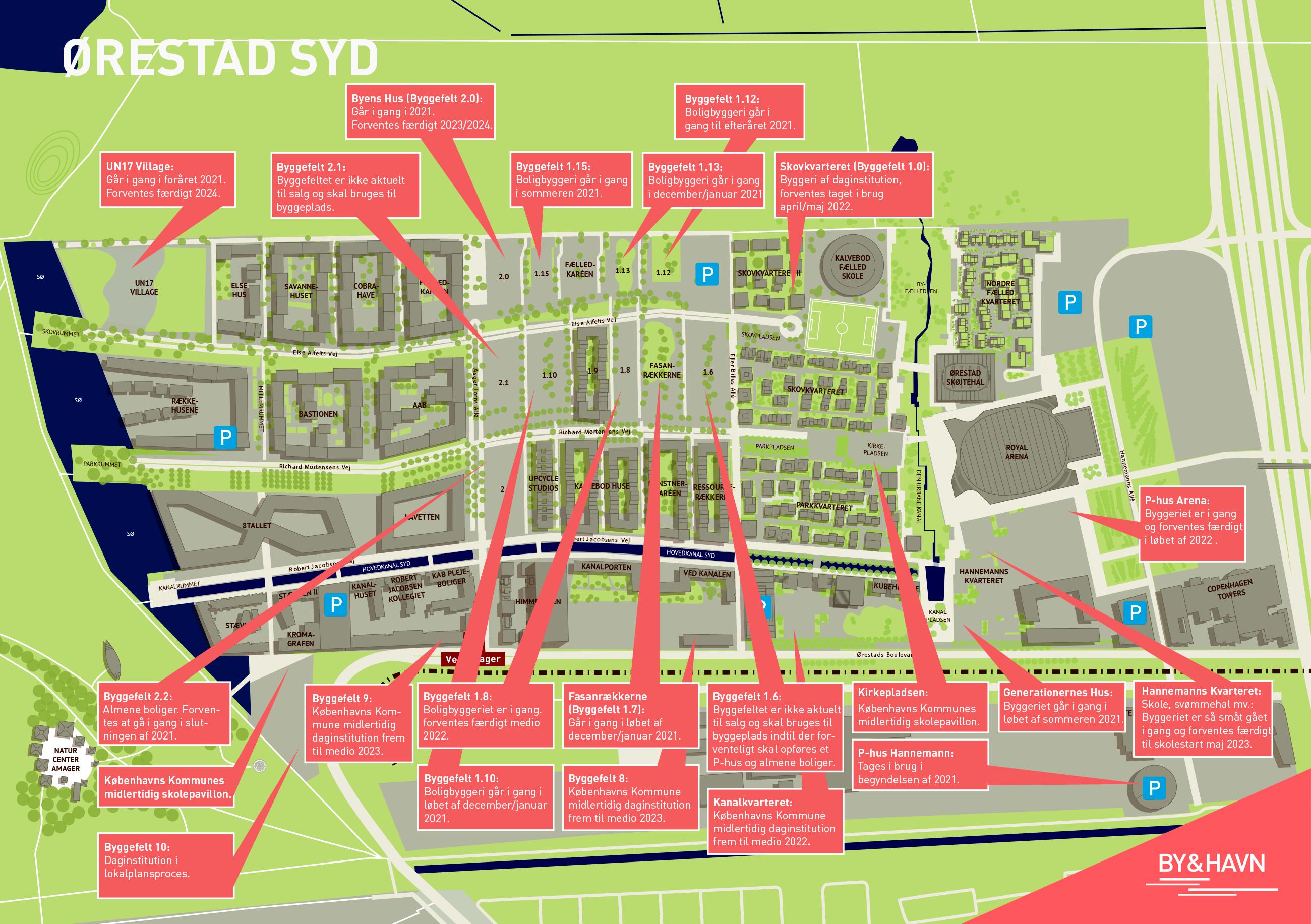 Kort over Ørestad Syd viser nuværende og fremtidig byggeaktivitet