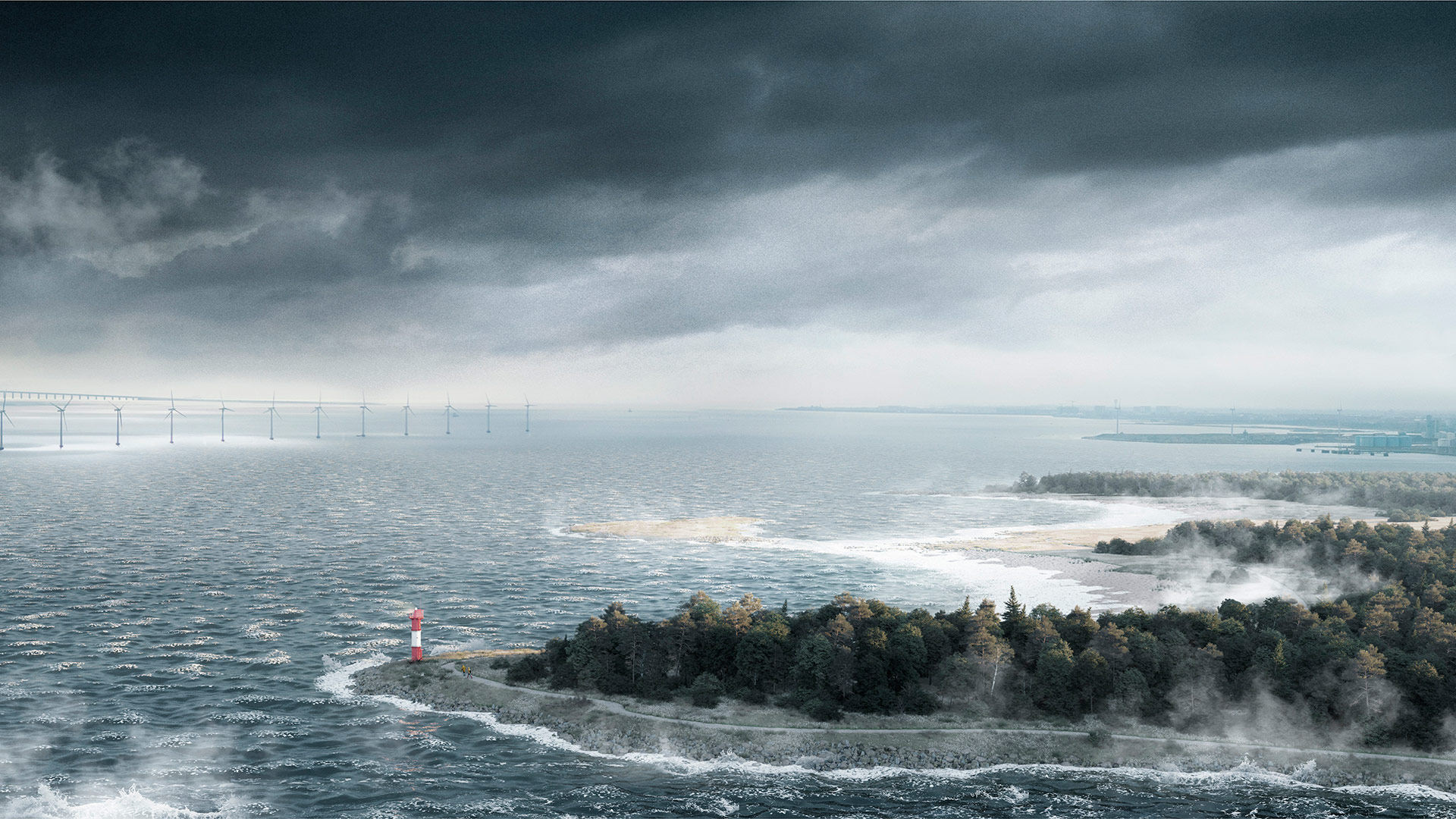 Visualisering fra Lynetteholm - Stormflod. (C) COWI / ARKITEMA / TREDJE NATUR