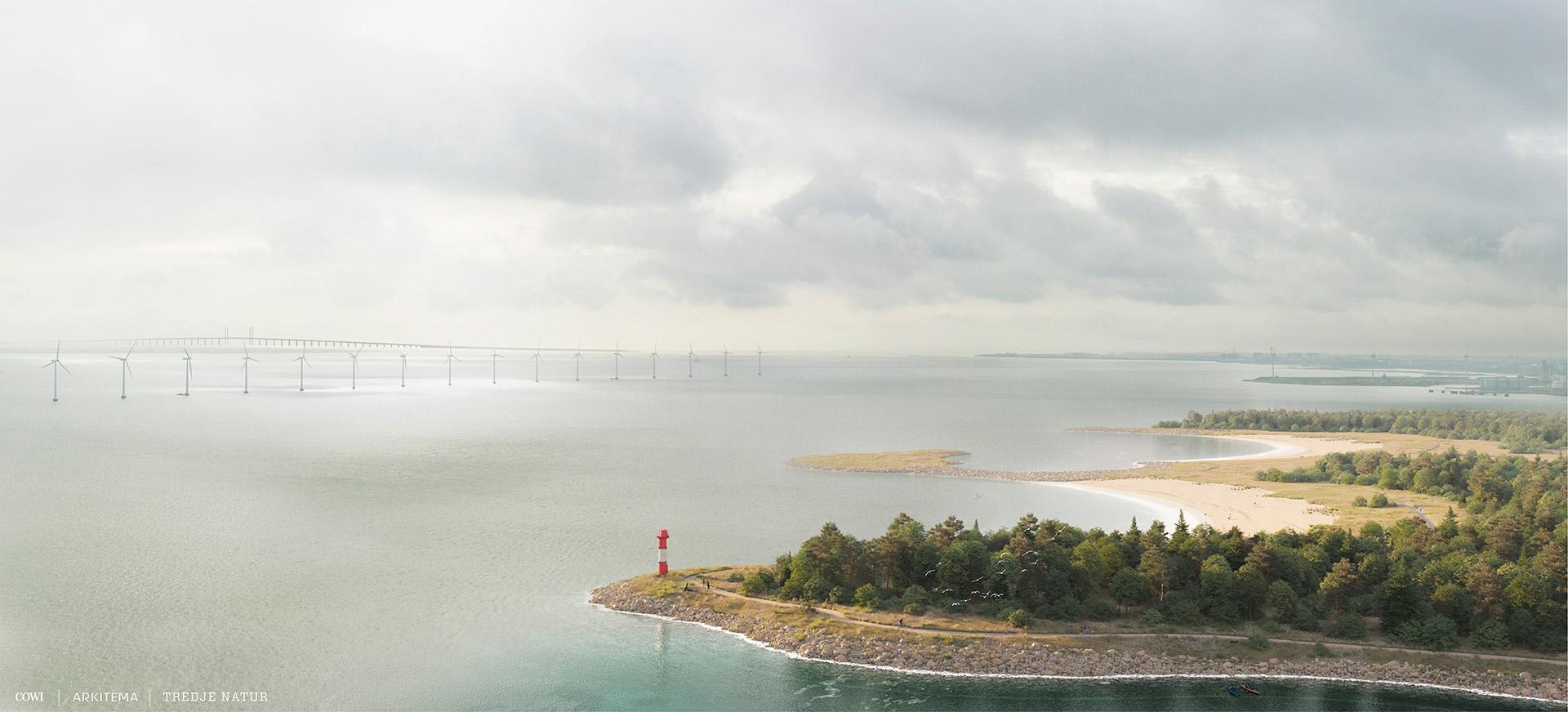 Visualisering af 'det lange kig' med Øresundsbroen i baggrunden fra Lynetteholm