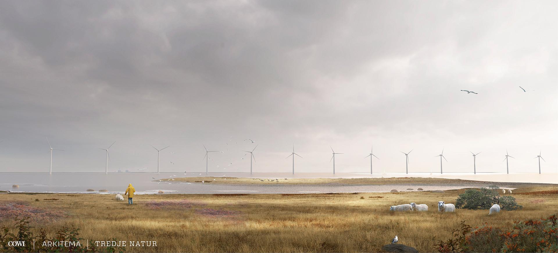Visualisering: Kig ud over vandet fra Lynetteholm