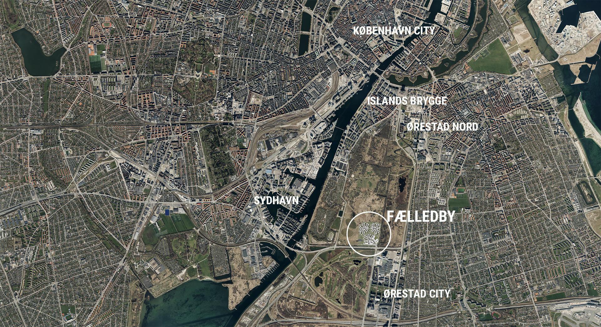 Kort viser Fælledbys placering