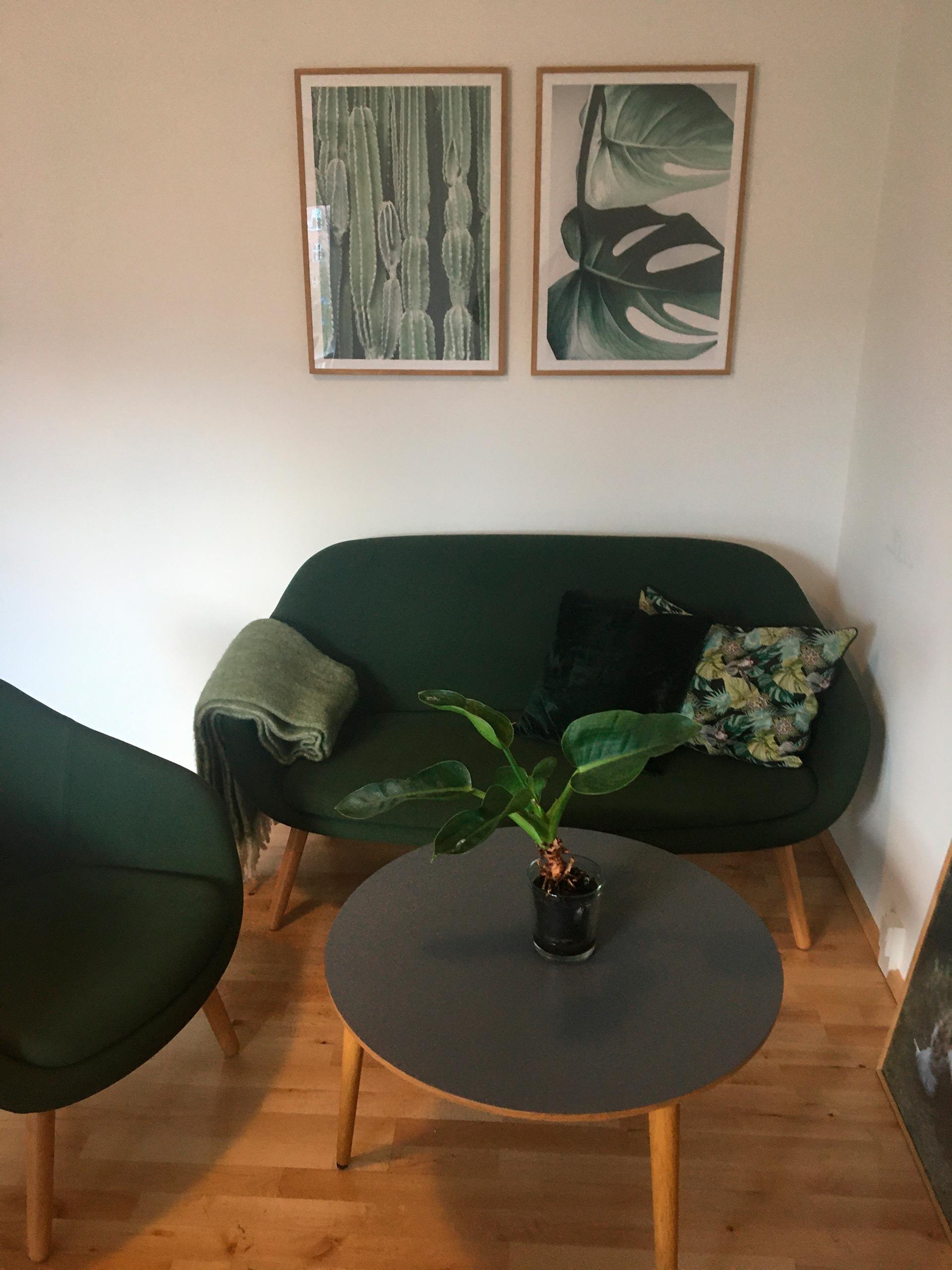 Nyindrettet lejlighed med møbler og billeder, hvor ung mand fik sit nye hjem i marts.